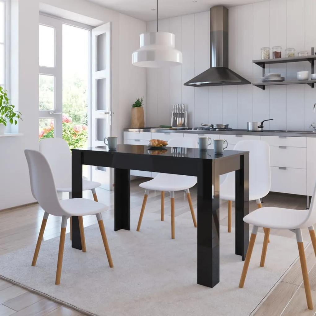 vidaXL Jedálenský stôl lesklý čierny 120x60x76 cm drevotrieska
