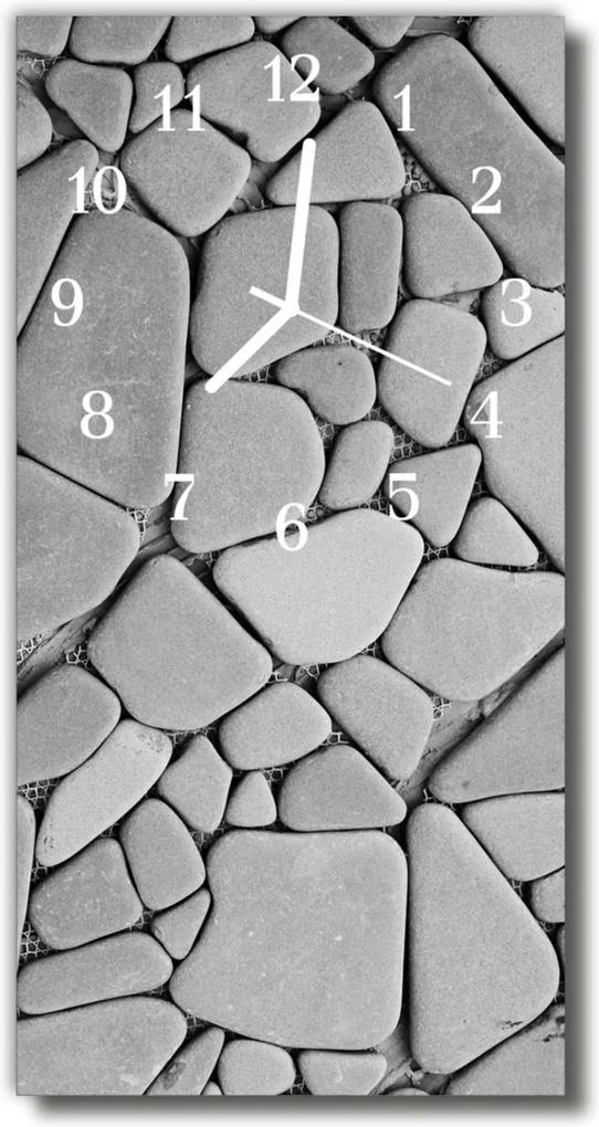 Skleněné hodiny vertikální Příroda Kameny šedé