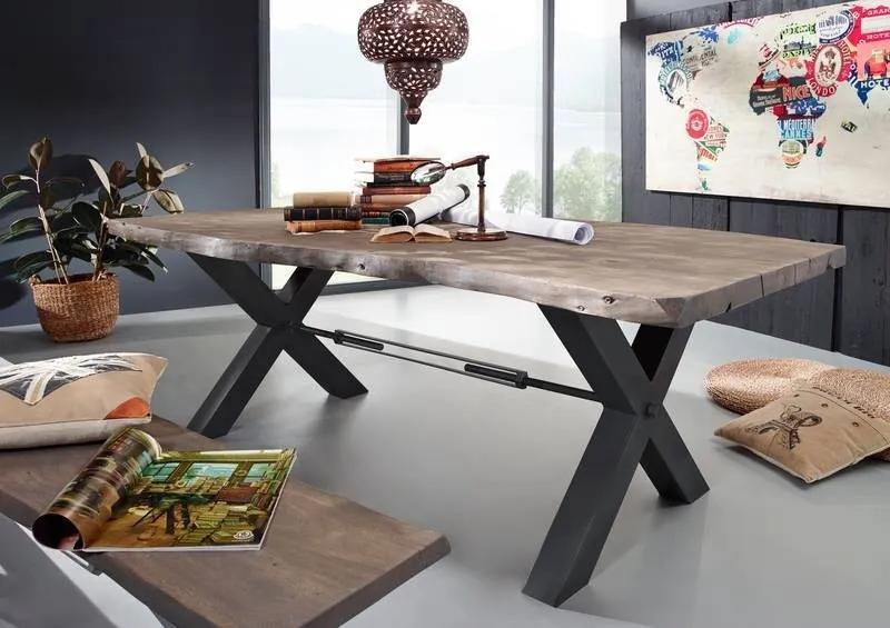 Bighome - DARKNESS Jedálenský stôl 200x100 cm - čierne nohy, dymová, akácia