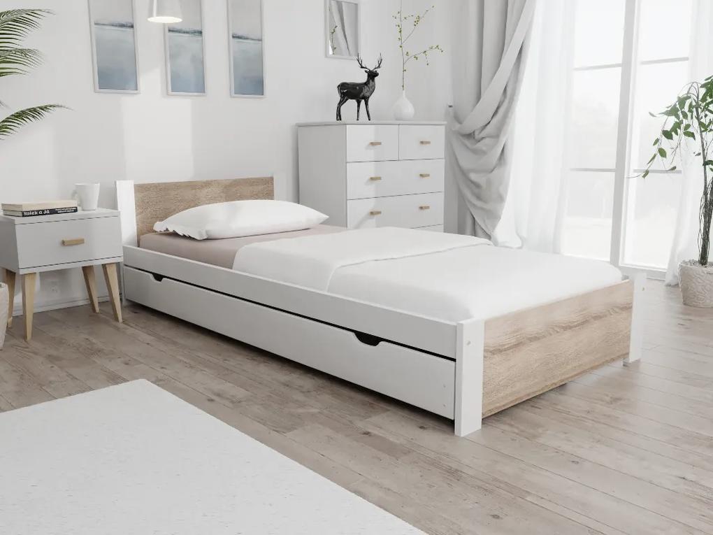 Posteľ IKAROS 90 x 200 cm, biela Rošt: Bez roštu, Matrac: S matracom Economy 10 cm