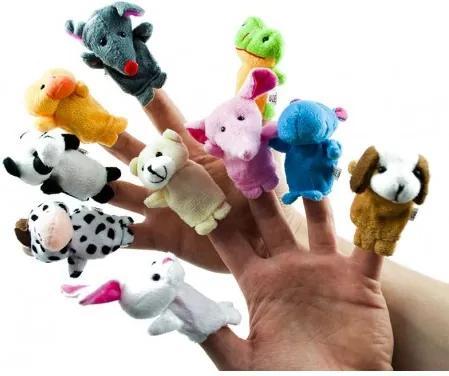 Plyšové bábky na prsty - zvieratká