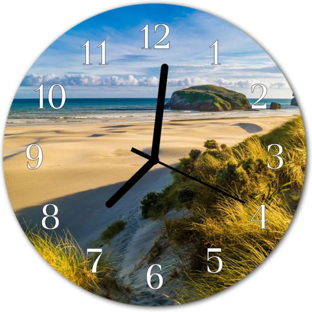 Nástenné sklenené hodiny  pláž
