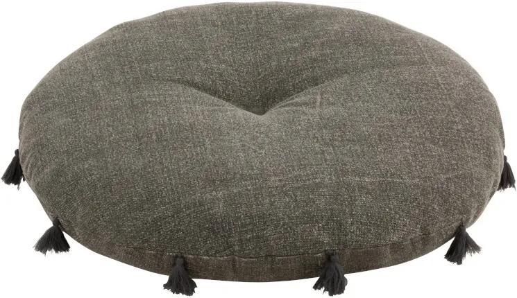 Bavlnený šedý otoman so strapcami Iseult - Ø 80 * 14 cm