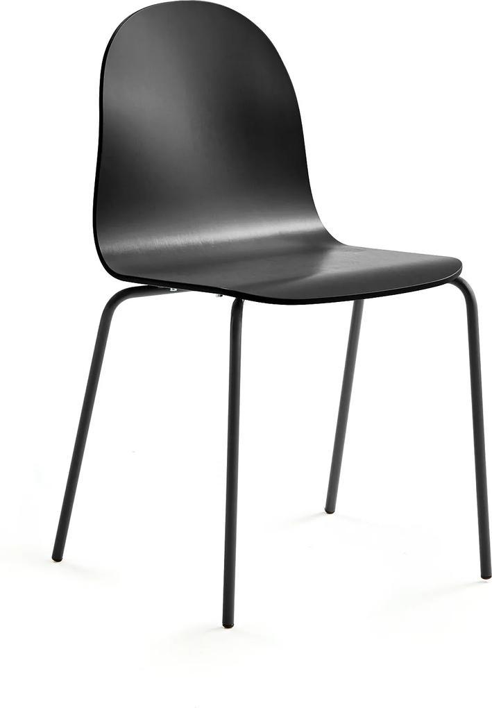 Stolička Gander, 4 nohy, lakovaná, čierna