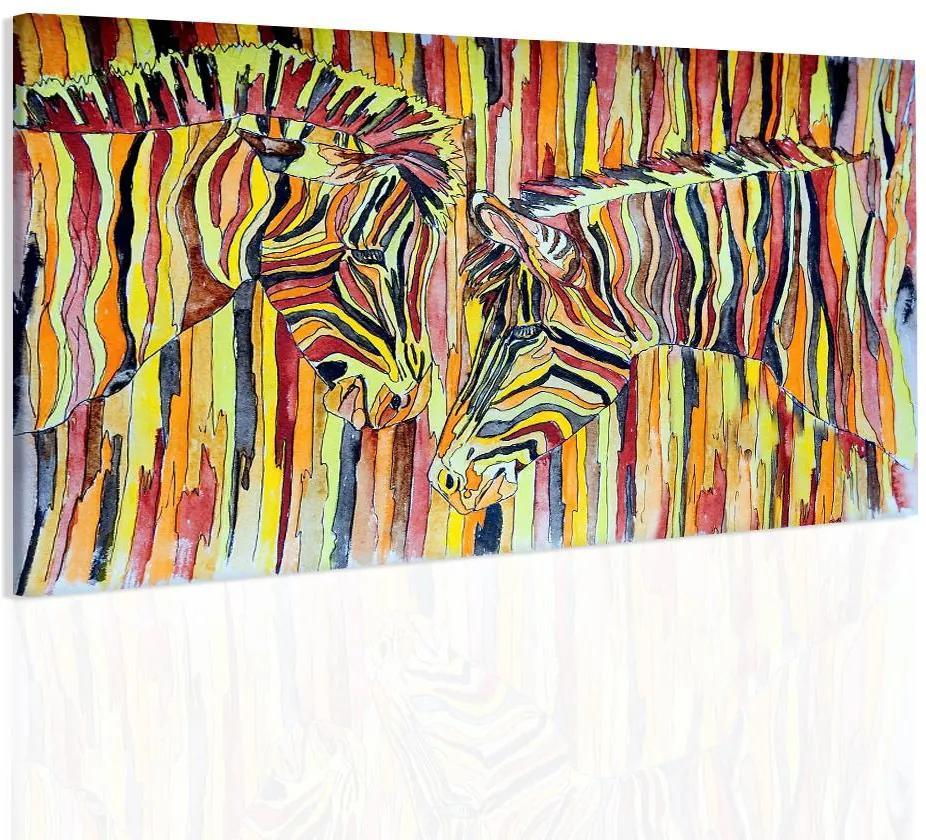 InSmile Obraz barevné zebry 90x60 cm