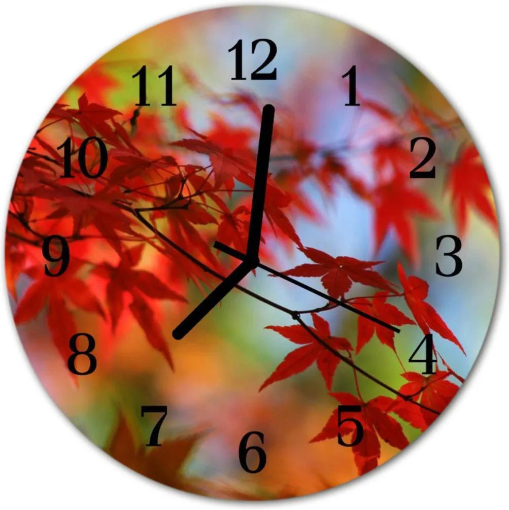 Skleněné hodiny kulaté Javorové listy