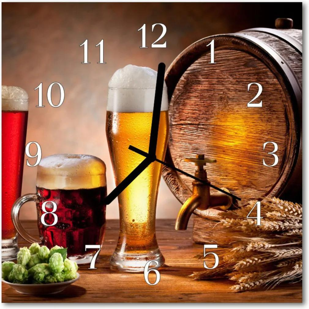 Skleněné hodiny čtvercové Pivo barel