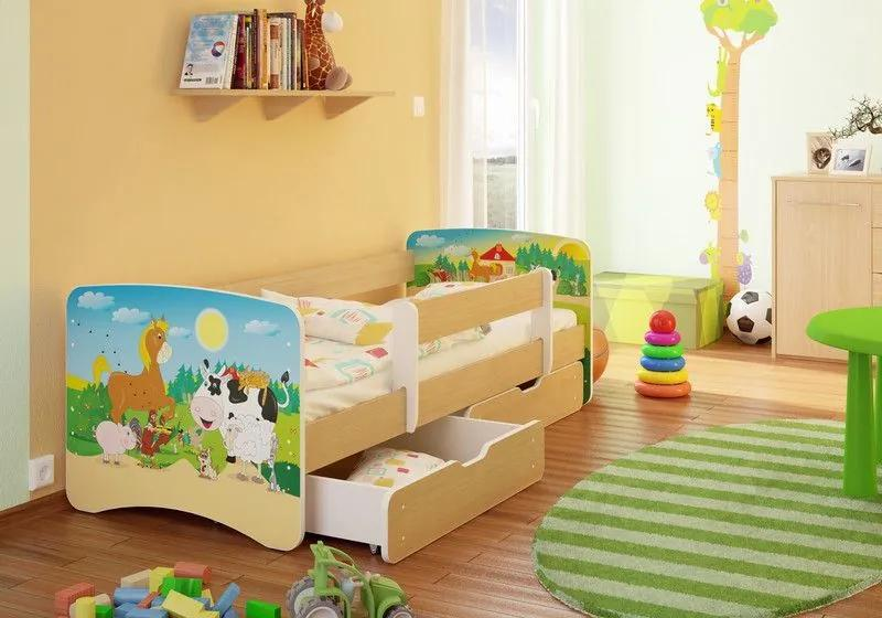 MAXMAX Detská posteľ STATEK funny 160x70cm - so zásuvkou 160x70 pre všetkých ÁNO