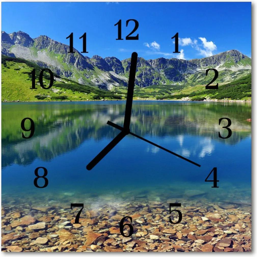 Skleněné hodiny čtvercové Horské jezero