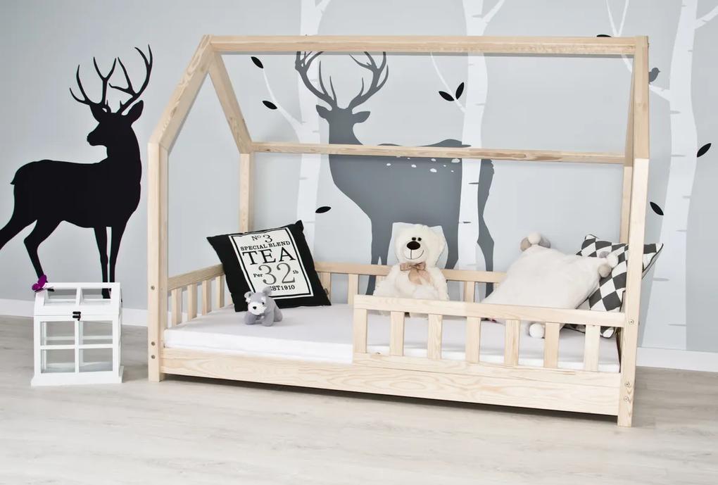Detská posteľ sa zábranou domček - prírodný 200x140 cm