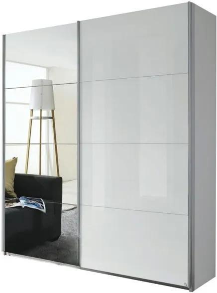 Sconto Šatníková skriňa QUADRA 226 biela vysoký lesk/zrkadlo