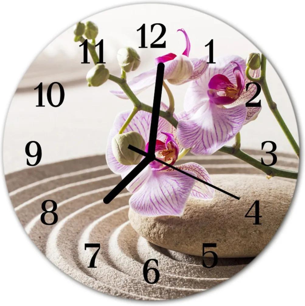 Nástenné skleněné hodiny Orchidní písek