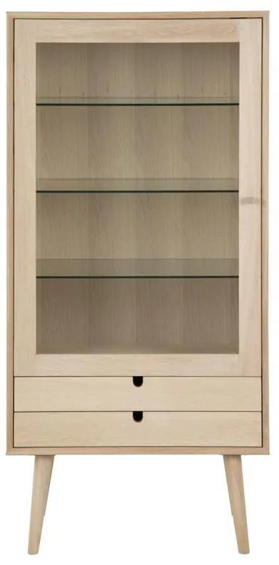 Dizajnová sklenená vitrína Nadia dub