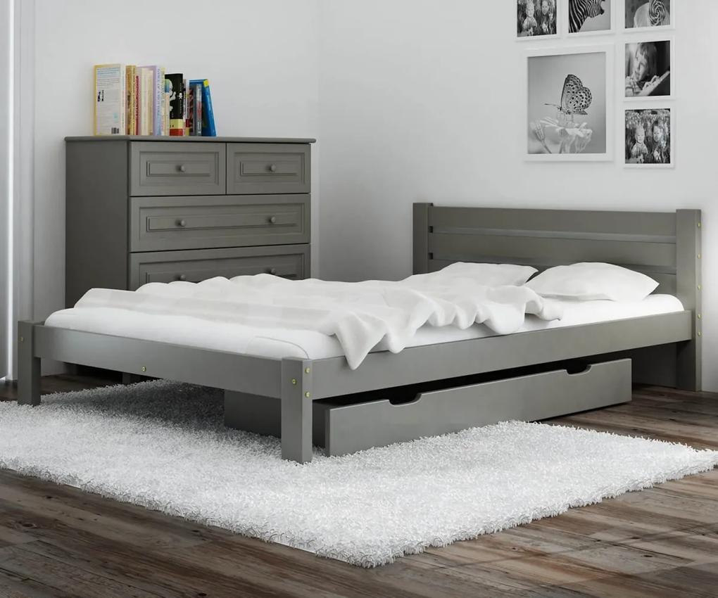 AMI nábytok Posteľ masív šedá Ajza 120x200