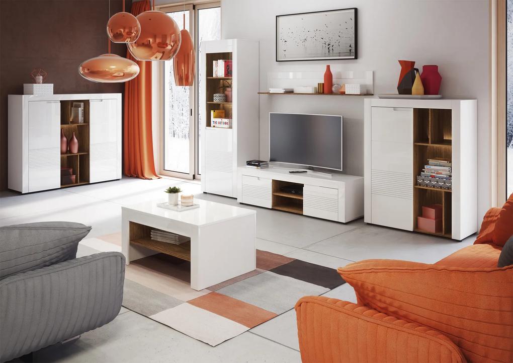 Byvajsnami SK, BELFRY obývacia stena, biely lesk