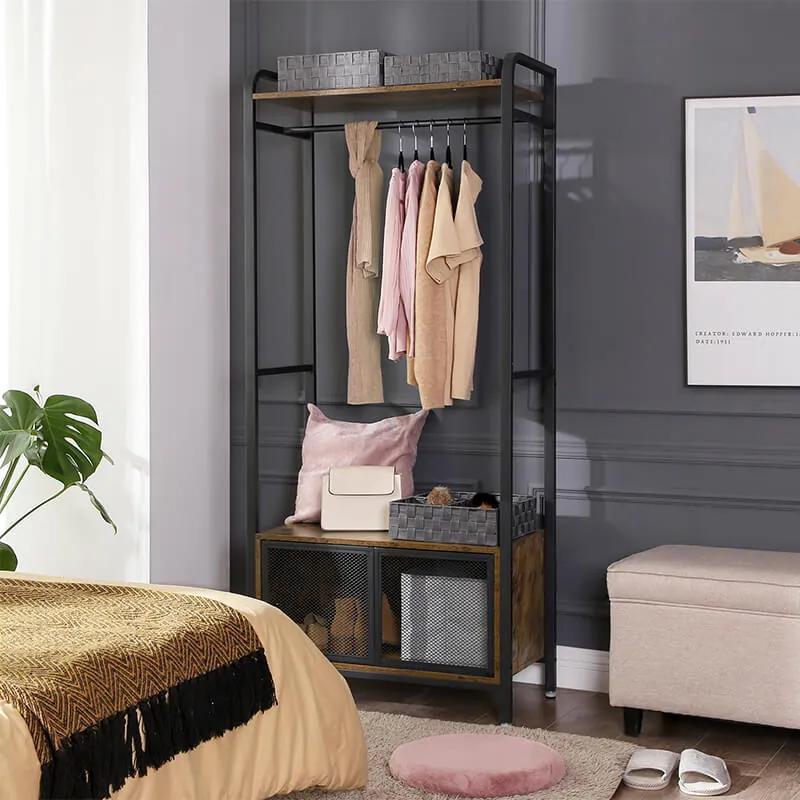 VASAGLE Otvorená šatníková skriňa s kabinetom industriálny, hnedá 180x80 cm
