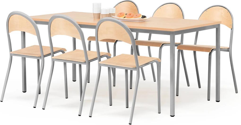 Jedálenská zostava: stôl 1800x800 mm + 6 stoličiek, buk/šedá