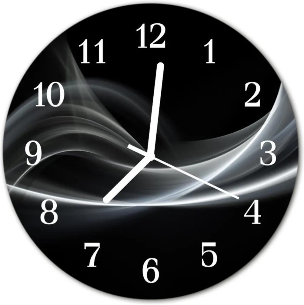 Skleněné hodiny kulaté Abstraktní čáry