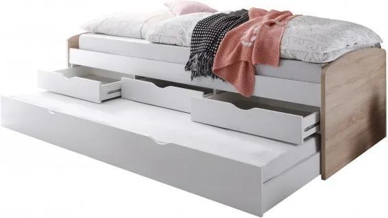 Sconto Posteľ s výsuvným lôžkom SENTIA dub sonoma/biela, 90x200 cm