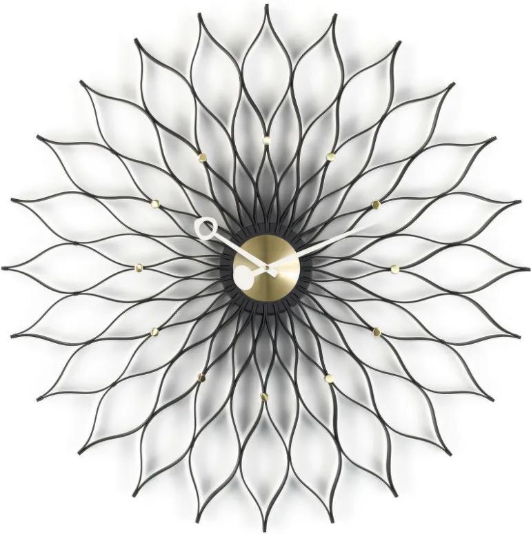 Vitra Hodiny Sunflower, black ash/brass