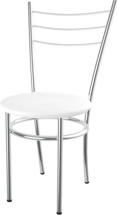 Kovová jedálenská stolička čalúnený sedák Marina - bílá - 10D