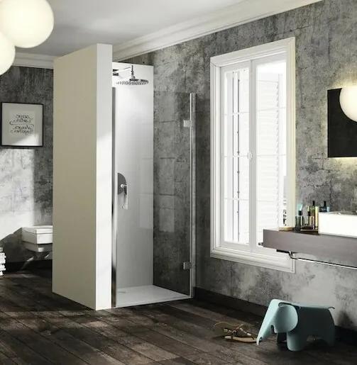 Sprchové dvere Huppe jednokrídlové 90 cm, sklo číre, chróm profil, pravé ST2402.092.322