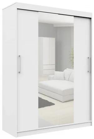 Šatníková skriňa posuvná 150cm CLP so zrkadlom biela