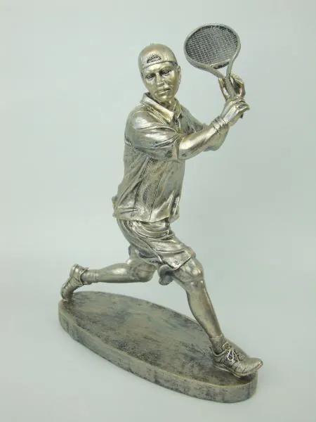 Starostrieborná soška tenistu v pohybe 33cm