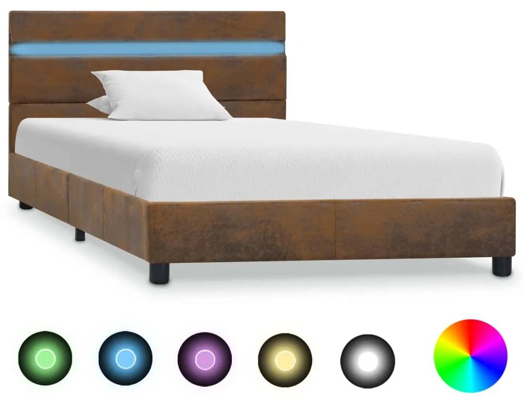 vidaXL Posteľný rám s LED hnedý 90x200 cm látkový