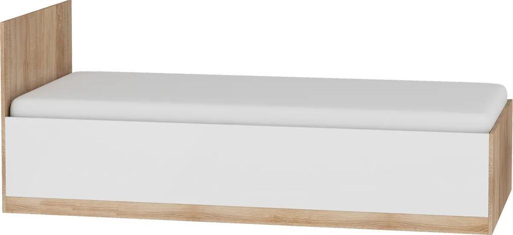 MEBLOCROSS Maximus MXS-19 90 jednolôžková posteľ s roštom sonoma svetlá / biely lesk