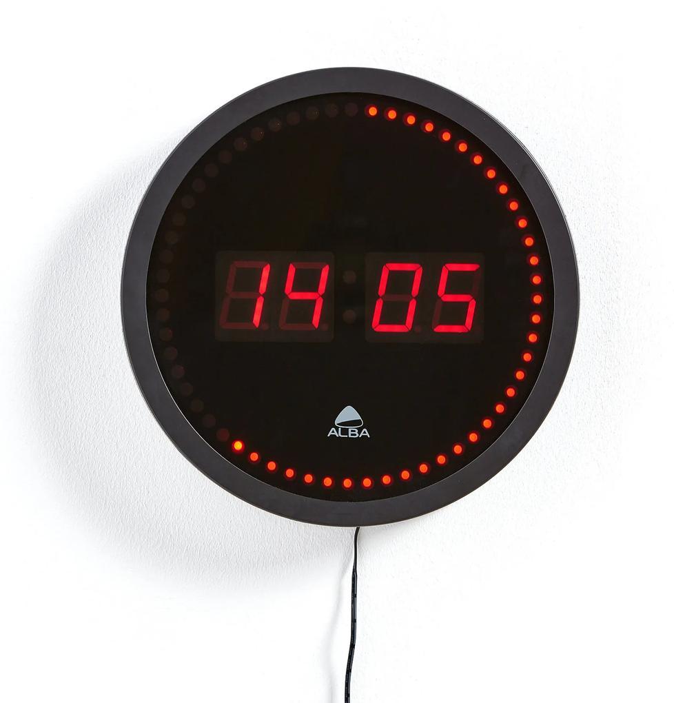 Digitálne nástenné hodiny, Ø 300 mm, čierne