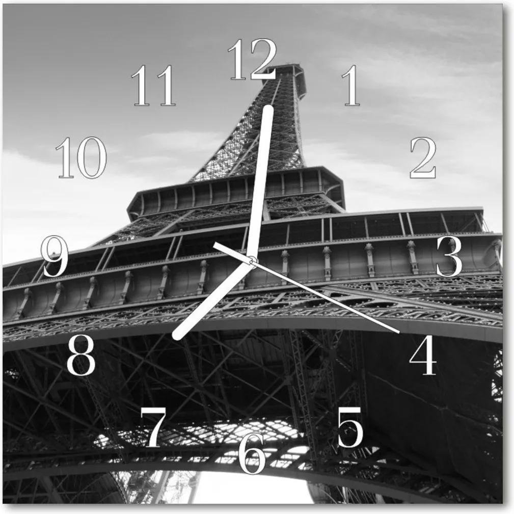 Skleněné hodiny čtvercové Eiffelova věž v Paříži