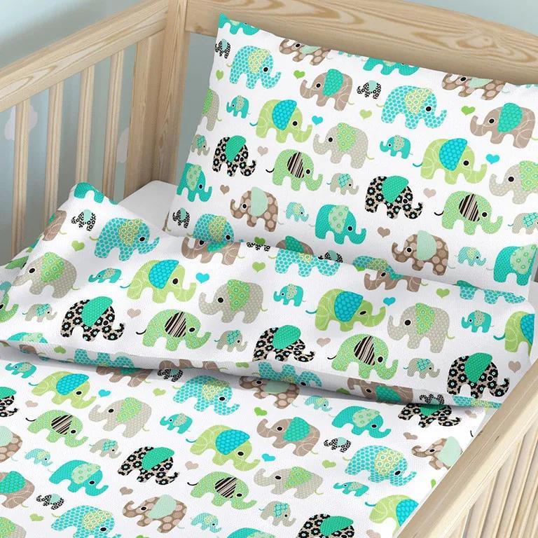 Goldea detské bavlnené obliečky do postieľky - vzor 633 zelení sloni na bielom 90 x 120 a 40 x 60 cm