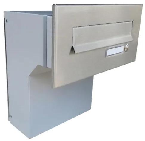 Nerezová robustná poštová schránka DLS-F-046-Z na zamurovanie do stĺpika, s menovkou a zvončekom