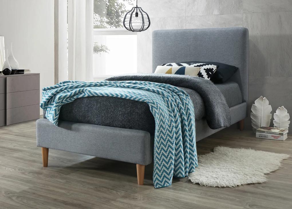 Čalúnená posteľ ACOMA 90x200 cm sivá Matrac: s matracom DELUXE 15 cm