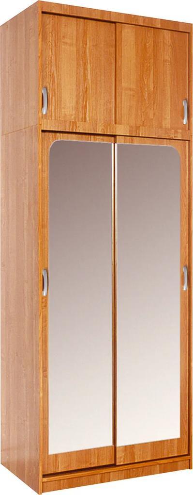 MEBLOCROSS Irena 4D šatníková skriňa s posuvnými dverami a zrkadlom jelša