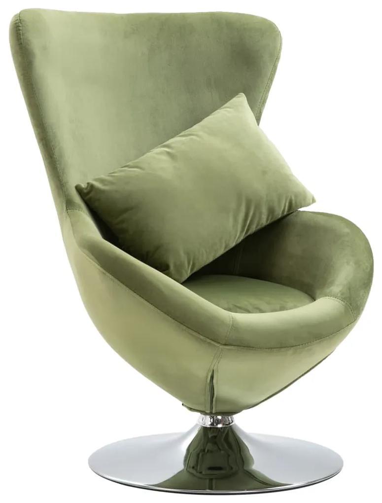vidaXL Otočná stolička v tvare vajca s vankúšom bledozelená zamatová