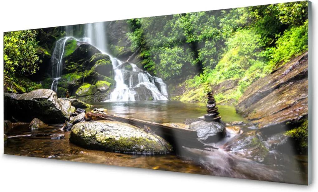 Obraz plexi Vodopád Kamene Les Príroda