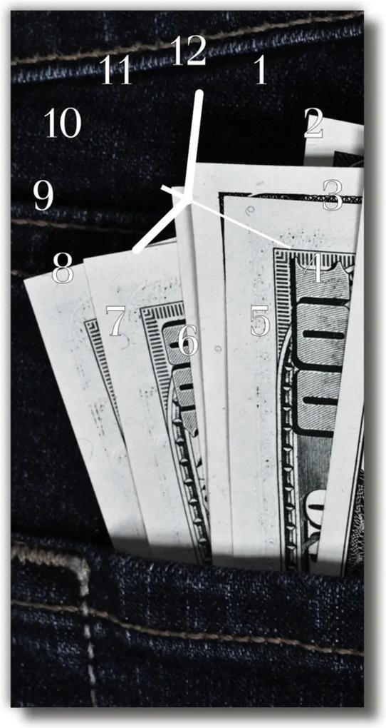 Skleněné hodiny vertikální Barevné bankovky