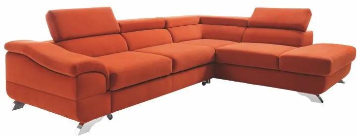 KONDELA Legas P rohová sedačka terakota