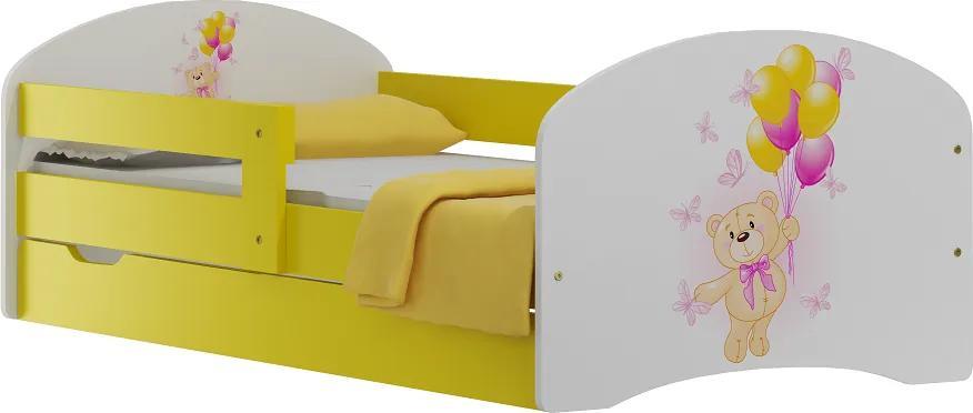 MAXMAX Detská posteľ so zásuvkami MACKO A MOTÝLCI 140x70 cm 140x70 pre dievča pre chlapca pre všetkých ÁNO