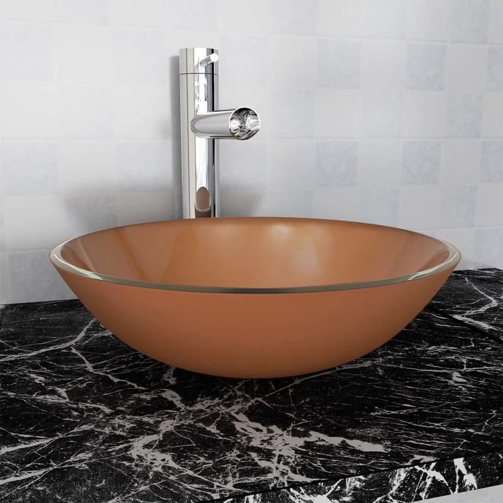 vidaXL Umývadlo z tvrdeného skla, 42 cm, hnedé