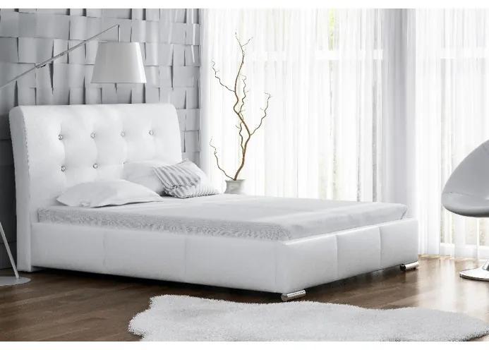 Elegantné jednolôžko Donna s úložným priestorom biela eko koža 120 x 200