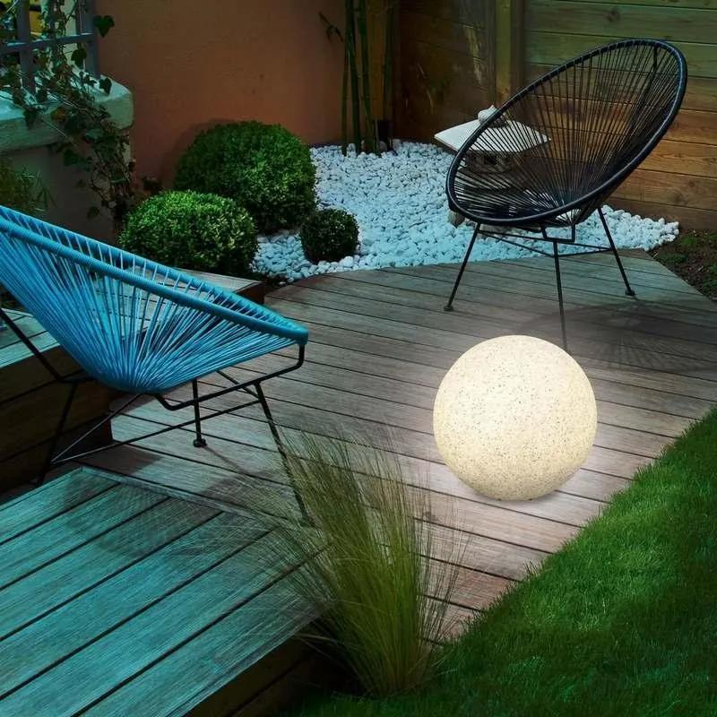 Solárna záhradná guľa 30cm - kamenná
