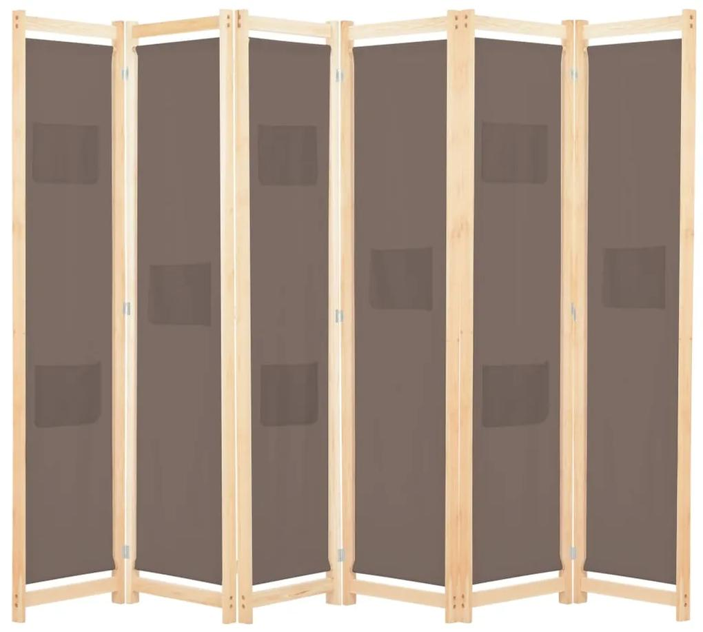 vidaXL 6-panelový paraván hnedý 240x170x4 cm látkový