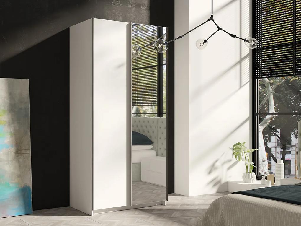 MEBLINE Posuvná šatňa RICK 100 Biely +  Zrkadlá