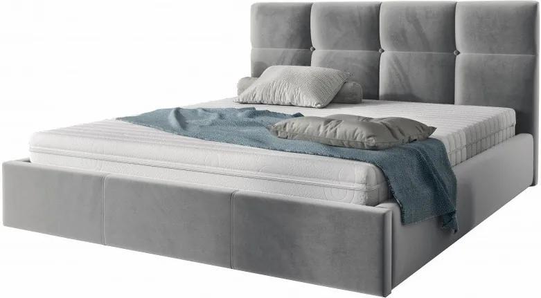 Hector Čalouněná postel Ksavier 140x200 dvoulůžko - šedé