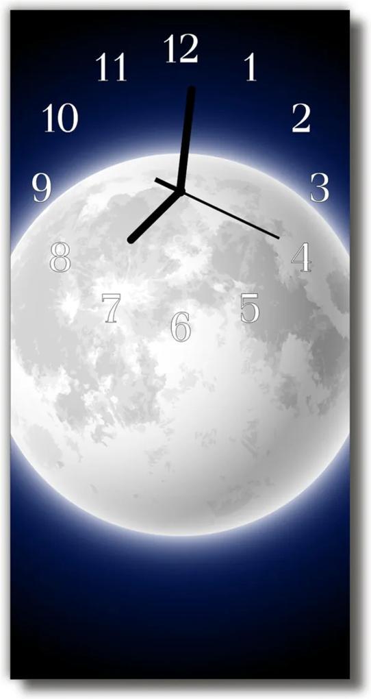 Skleněné hodiny vertikální Vesmír, Měsíc, barevný vesmír