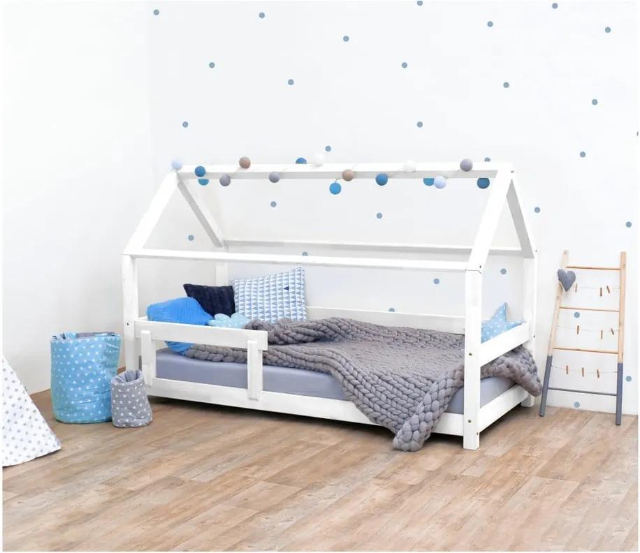 Biela detská posteľ s bočnicami zo smrekového dreva Benlemi Tery, 90 × 180 cm