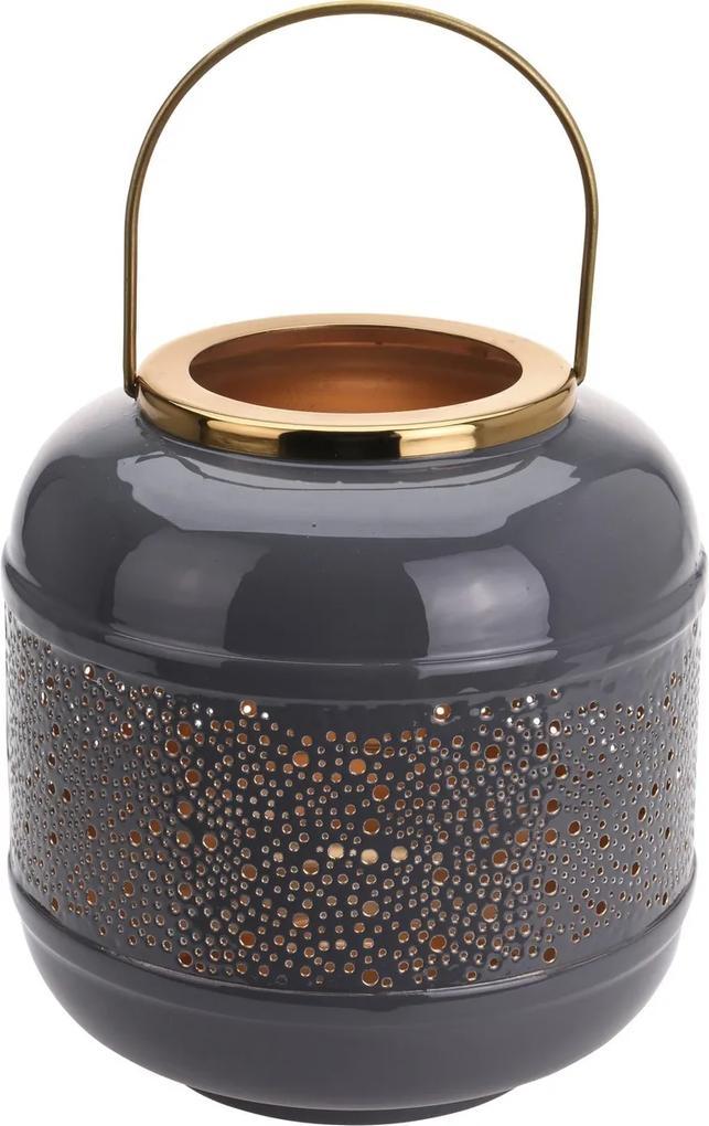 Kovový lampáš Relief dots sivá, 19,5 x 21 cm